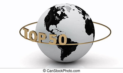 TOP 50 around the earth - Rotating earth and the inscription...