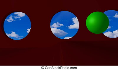 green word ONLINE - Green ball rolling on the dark room by...