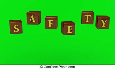 Green screen SAFETY inscription bright yellow letters on a...