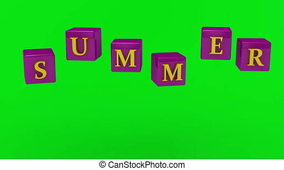 Green screen SUMMER inscription bright yellow letters on...