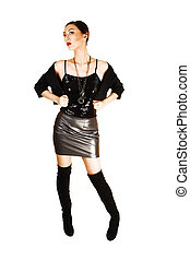 Girl in leather skirt. - A tall and slim young chinese woman...