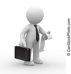 Business man and invoice - 3d business man keep an invoice...