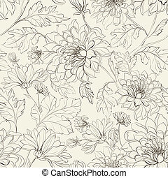 Seamless floral pattern with chrysanthemums. Vector...