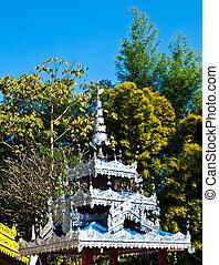 Roof decoration in Tai Yai style Pan soi in Wat Klang, Pai...