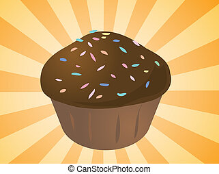 Cupcake illustration - Fancy decorated cupcake muffin...