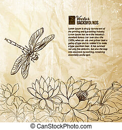 Lotus flower and dragonfly. Vector illustration.