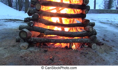 march mardi gras fire in evening - spring equinox...