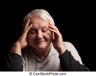 Senior woman with headache - Unhappy old senior woman with...