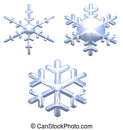 set of chrome metal effect snow flakes over white