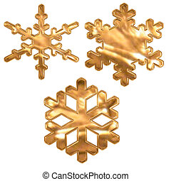 set of gold metal effect snow flakes over white