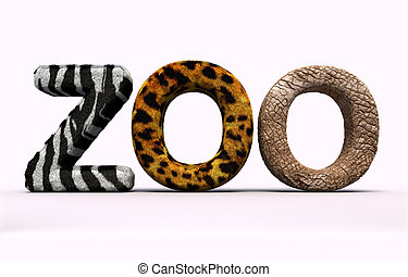 Word zoo with fur letters. - 3d render