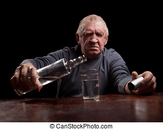portrait of alcoholic senior man - portrait senior man...