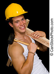 Construction Body Builder, - Young attractive male body...
