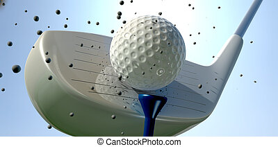 Golf Ball And Club Impact - An extreme close up of a golf...
