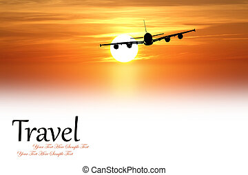 Beautiful sunset with airplane isolated on white