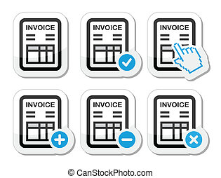 Invoice, finance vector icons set - Invoicing, banking black...