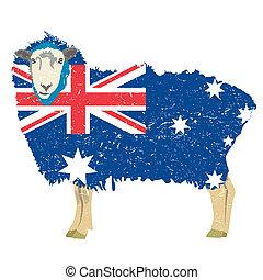 Australian sheep - Australian Sheep with flag design Vector...