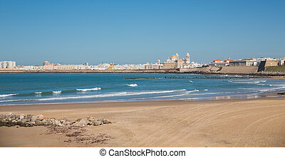 Cadiz and ocean - Wide landscape of the Cathedral of Cadiz...