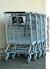 Grey metal shopping carts - Some Grey metal shopping carts
