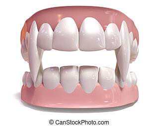 Vampire False Teeth Set Isolated - A set of vampire false...