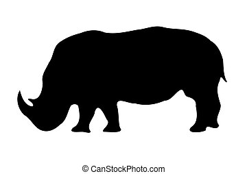 Isolated Rhinoceros silhouette on white - A Isolated...