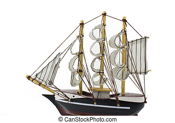 Barque - Model Barque with full sails up Isolated on white.