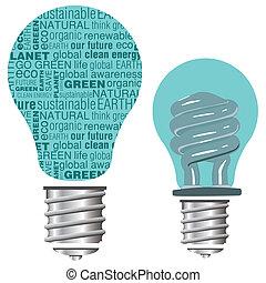 Text Eco Friendly Light Bulb - Eco friendly light bulb...