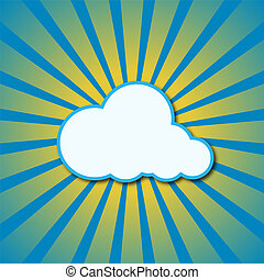 Vector sun rays and cloud. - Vector abstract blue background...