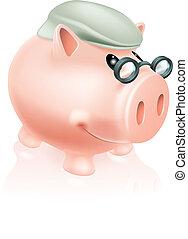 Pension savings piggy bank concept of a piggy bank money box...