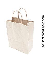 blanco, marrón, papel, compras, bolsa, aislado,...