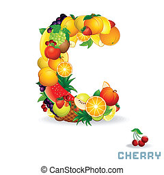 Vector Alphabet From Fruit Letter C - Vector Alphabet From...