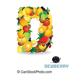 Vector Alphabet From Fruit. Letter D