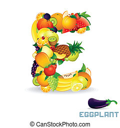 Vector Alphabet From Fruit. Letter E