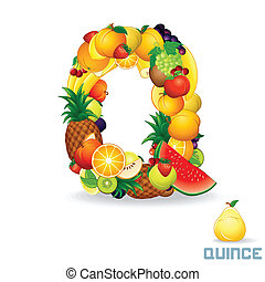 Vector Alphabet From Fruit Letter Q - Vector Alphabet From...