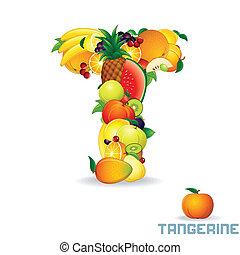 Vector Alphabet From Fruit. Letter T