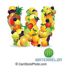 Vector Alphabet From Fruit. Letter W