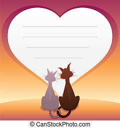 Romantic illustration with Cats. Vector Graphics