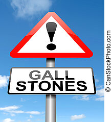 Gall stones concept. - Illustration depicting a sign with a...