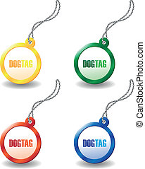 dog tags - set of colourful dog tags