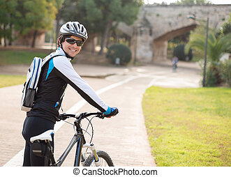 Happy Young Male Cyclist; Outdoors