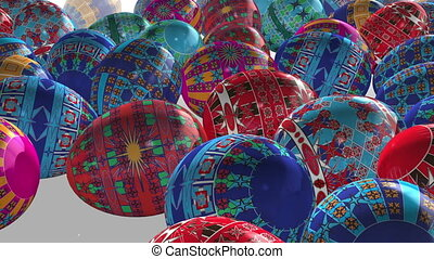 Rolling Painted Eggs (loop,matte) - Render of Easter eggs...