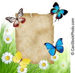 Floral background with blank paper and butterflies