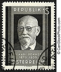 AUSTRIA - CIRCA 1951: A stamp printed in Austria shows Karl...