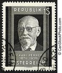 AUSTRIA - CIRCA 1951: A stamp printed in Austria shows Karl...