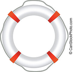 EPS-10 Vector of Red Life Buoy, Isolated On White Background