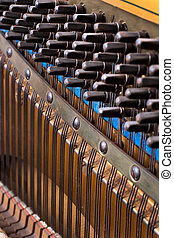 close up of old inside element piano