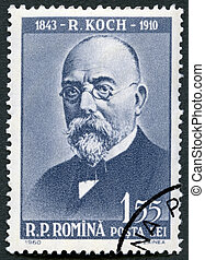 ROMANIA - 1960: shows Robert Koch (1843-1910) - ROMANIA -...