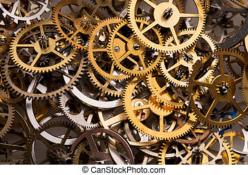 Cogwheels background - Background: mix of various gears,...