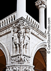 Adam and Eva - Composition of Adam and Eva on the Facade of...