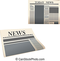 Newspaper icons with detailed elements isolated on white...